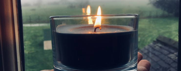 Candle at winter solstice