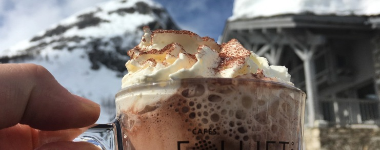 hot chocolate in the mountains